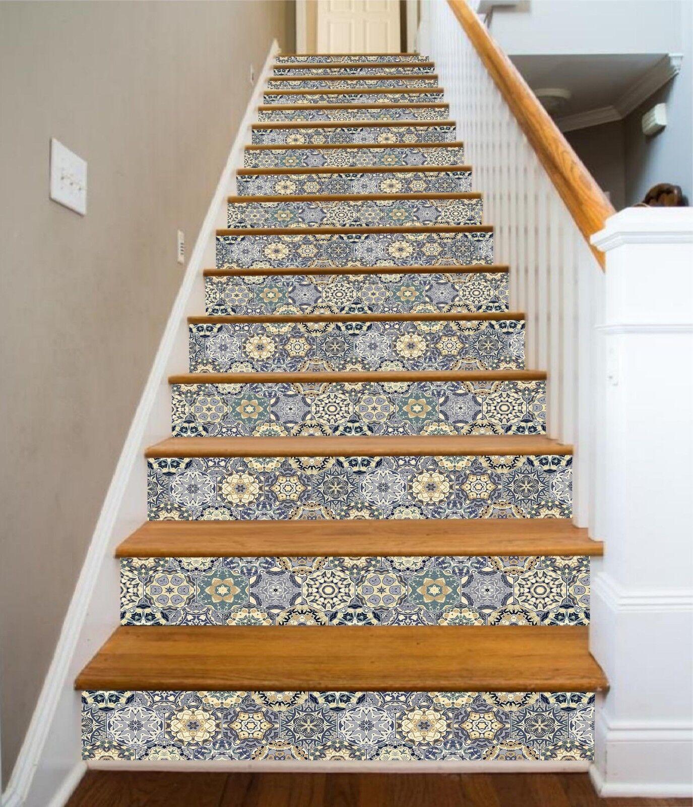 3D Complex Flower 8 Tile Marble Stair Risers Photo Mural Vinyl Decal Wallpaper