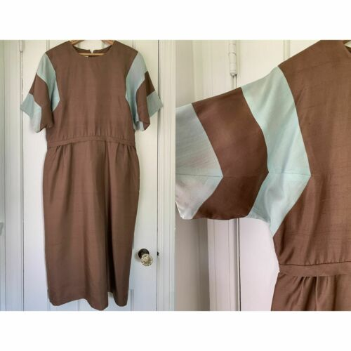 VTG 50s 60s brown and baby blue color block dress