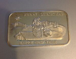 Merry Christmas Happy New Year Fine Silver Bar 999 One