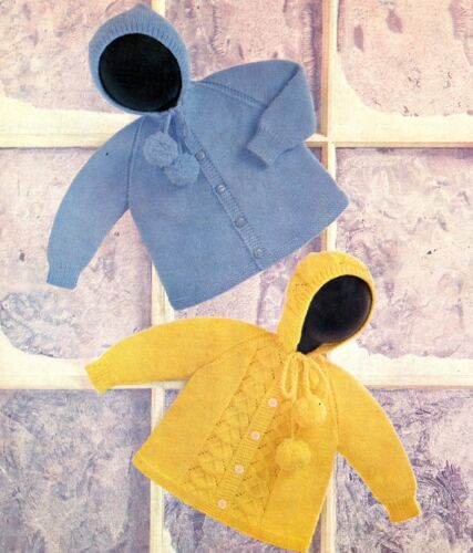 BABY knitting pattern   baby hooded jackets dk 20//24 in chest