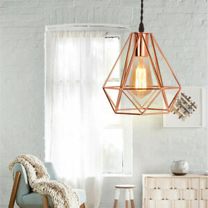 Details About Vintage Metal Diamond Cage Ceiling Pendant Light Lamp Shade Fixture