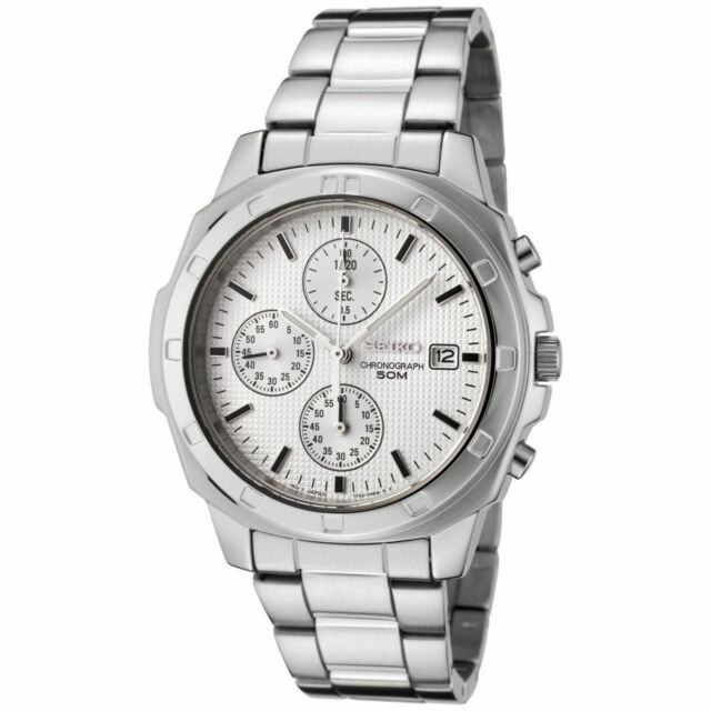 Seiko SNDB33P Men's Chronograph Date White Dial Luminous Hands St. Steel Watch