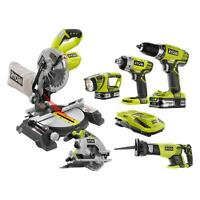 18 V Power One+ Lithium-ion Cordless Compact Combo Kit Tool Miter Saw (6-tool)