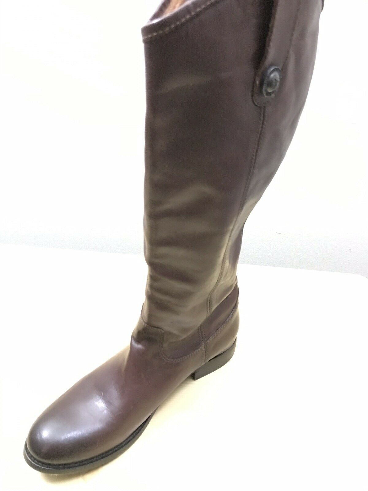 Frye Women's Melissa Button Lug Tall Riding Boot Redwood Brown 3471444 Size US 8