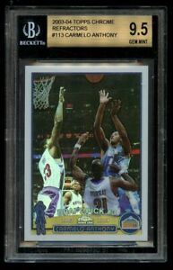 2003-04 Topps Chrome Carmelo Anthony Refractor Rookie RC #113 BGS 9.5 Gem Mint