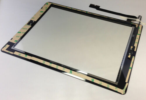 BLACK TOUCH SCREEN GLASS DIGITIZER FOR IPAD 4TH GEN COMPLETE HOME FLEX+ADHESIVE
