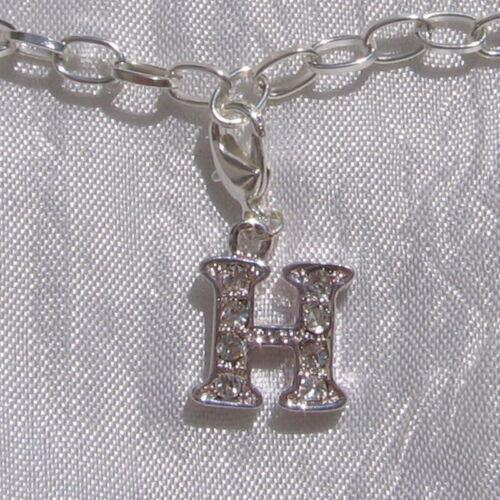 Breloque LETTRE pendentif alphabet charm avec mousqueton métal argenté strass