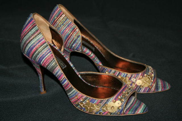 Hollywould Multi Striped Serena Peep Toe chaussures 5.5  475