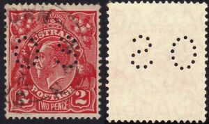 AUSTRALIA-KG5-2d-multi-small-Crown-and-A-perfin-OS-O522