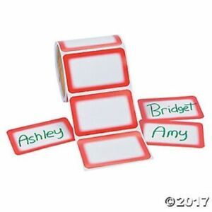 christmas roll of 100 red name tags stickers labels birthday party
