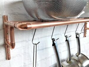 Copper Pipe Pot Amp Pan Rack 3 Sizes With 6 Hooks Wall