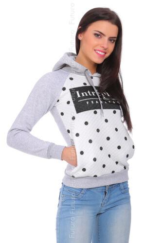 Damen Winter Warm Kapuze Gepunktet Pullover Sweatshirt Bluse Größen 8-14 FZ59