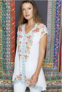 JOHNNY-WAS-Blouse-V-Neck-HEIDI-Tunic-Short-Sleeve-Embroidered-Dress-S-245
