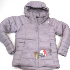 190-North-Face-Girls-Double-550-Down-Hoodie-Metallic-Silver-Medium-10-12