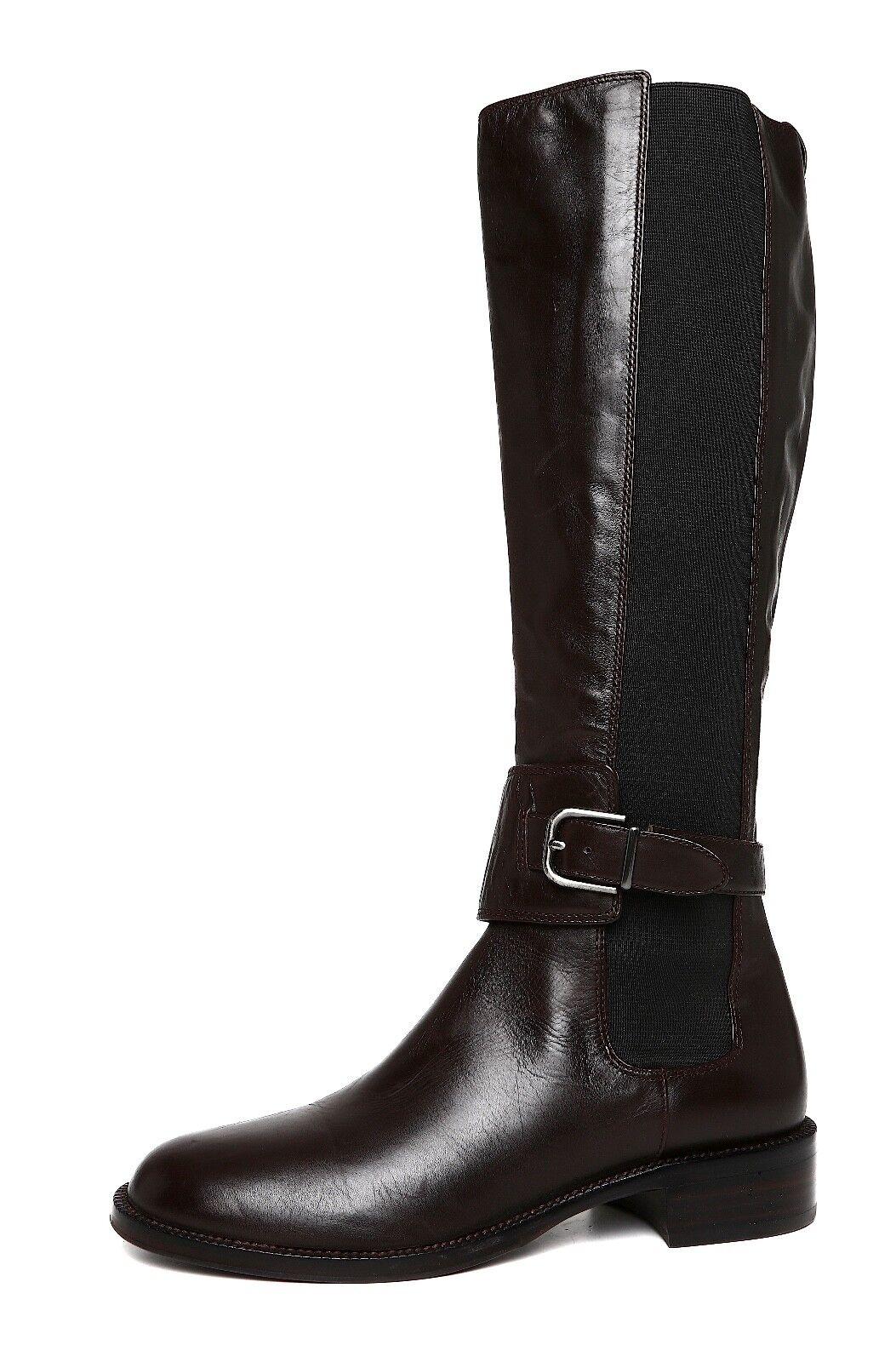 Via Spiga Bufu Tall Leather Boot Dark Brown Women Sz 7 M 2050 *