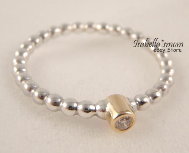 1b53fc6e2 EVENING STAR Authentic PANDORA Sterling Silver/DIAMOND/14k GOLD Ring 7/54  NEW