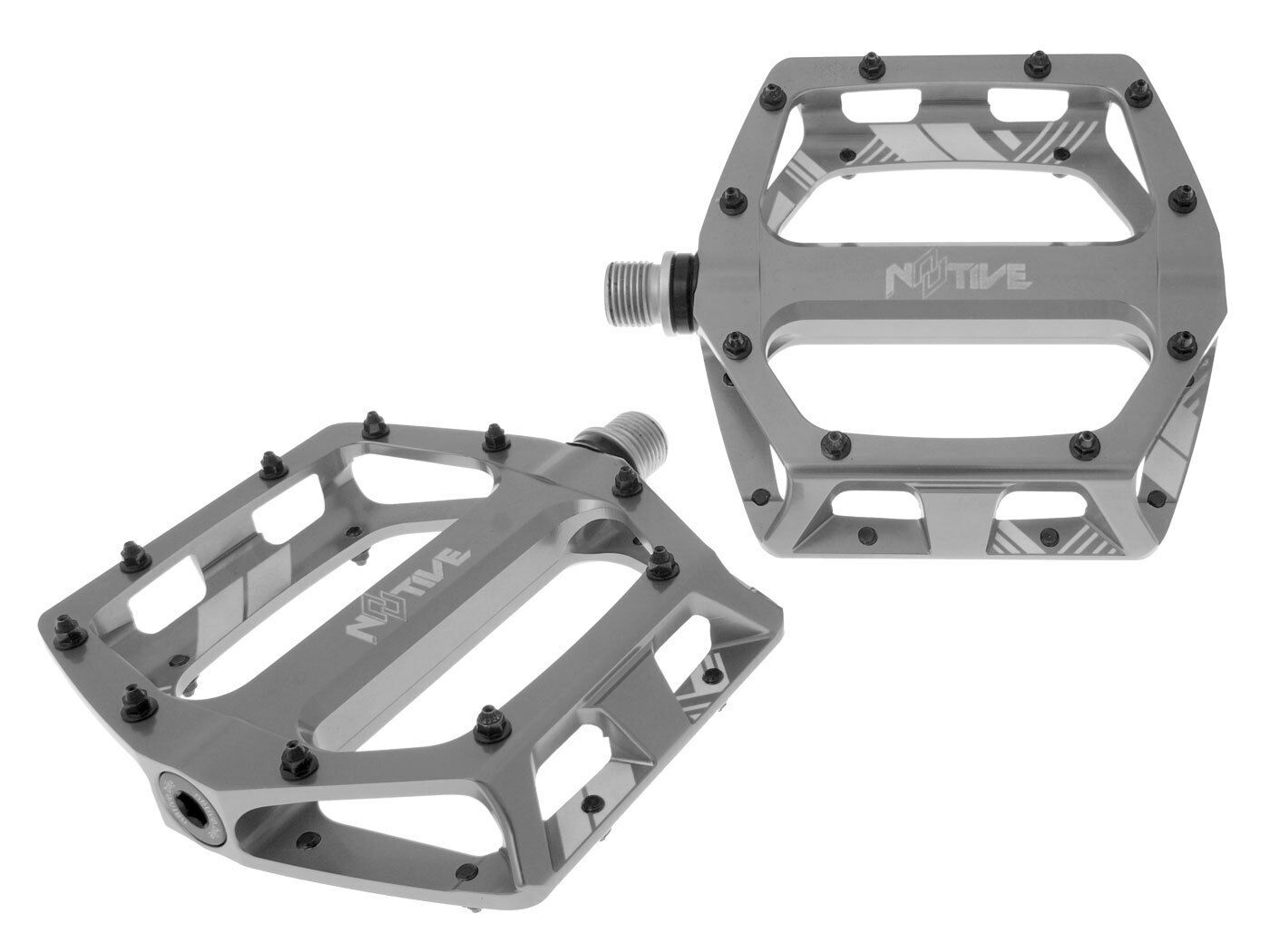 N8tive Piatto Pedal Set XC 99x100mm Grigio per Enduro Trail AllMountain Bmx
