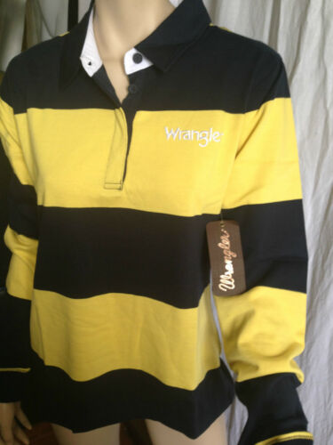 BNWT Ladies Sz 20 Genuine Wrangler Navy Lemon Long Sleeve Lilly Rugby Jumper