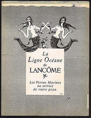 1956 Vintage Lancome Ligne Oceane Mermaid Art Print Ad