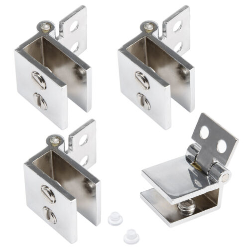 4-8pcs Stainless Steel 90° Glass to Glass Door Hinge Clamp Clips Holders 6-8mm
