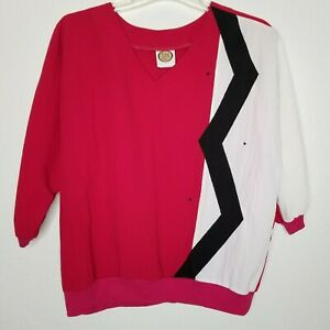 Vintage-80s-Womens-Blouse-Geometric-Print-Red-and-Black-Size-L