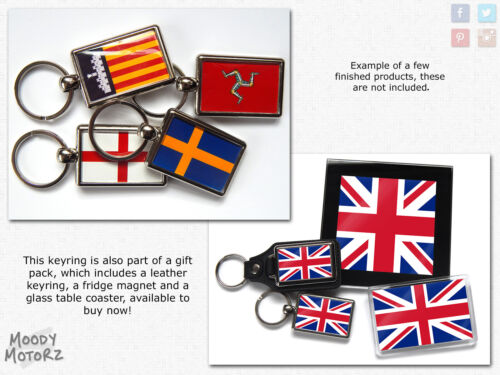 Taiwan Flag National Colours Quality Chrome Keyring Picture Both Sides