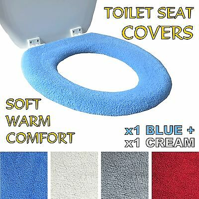 2x Toilet Seat Covers Universal Soft Warm Fleece Elderly Washable *COLOUR CHOICE