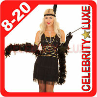 Ladies 20s 1920s Black Flapper Gangster Gatsby Girl Fancy Dress Sequin Costume