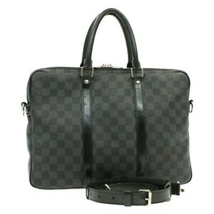 LOUIS-VUITTON-Damier-Graphite-Porte-Documents-Voyage-Hand-Bag-N41478-Auth-th517