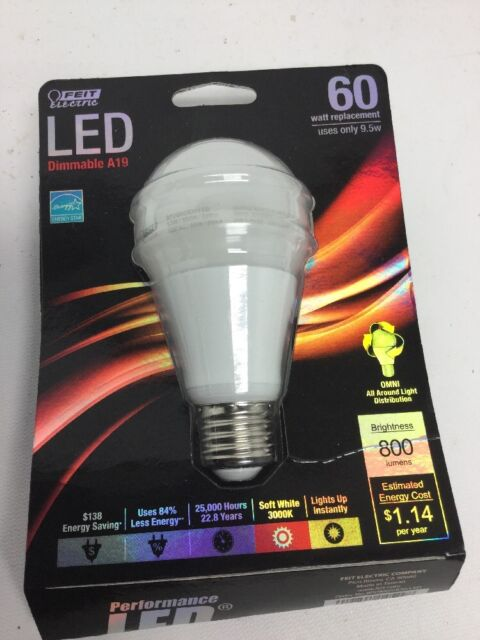 Feit Electric LED Dimmable A19 60 Watt Lot Of 4 3000K Warm White
