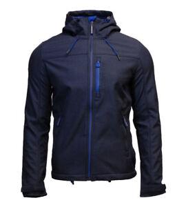 Superdry-Mens-New-Hooded-Windtrekker-Jacket-Coat-Full-Zip-Blue-Marl