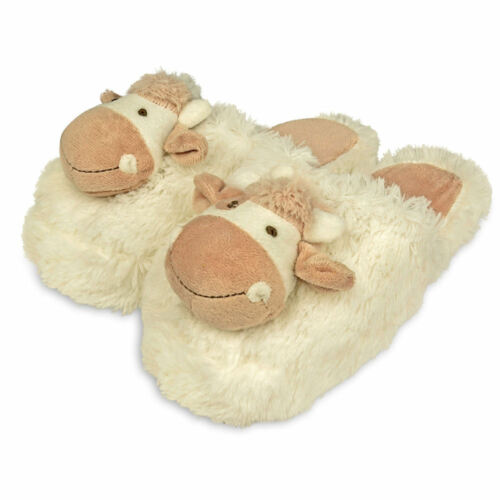 Soft Plush Novelty Slippers up to UK7 Zhu-Zhu Furry Animal Head Cow Slippers