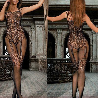 Fashion Sexy Fishnet Open Crotch Black Body Stocking Bodysuit Tights Lingerie