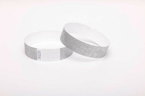 "1000 Plain Silver 3//4/"" Tyvek Paper Wristbands for Events,Festivals,Parties"