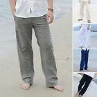 PLUS SIZE Men Linen Loose Long Pants Beach Drawstring Yoga Casual Slack Trousers