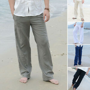 Image Is Loading Plus Size Men Linen Loose Long Pants Beach
