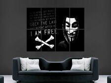 ANONYMOUS GROUP GUY FAWKES MASK OBEY  ART IMAGE  LARGE WALL POSTER PICTURE