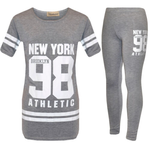 KIDS GIRLS NEW 98 NEW YORK PRINTED CAMOUFLAGE TWO PIECE SET TRACKSUIT 2-13Years.