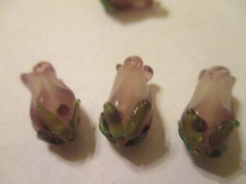 6 Amethyst Purple /& Green Lampwork Flower Floral Glass Beads  15x8 mm PAF