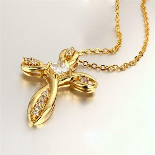 Women Necklace Cross Pendant Zirconia White 750 18 kt Gold-plated Yellow Gold