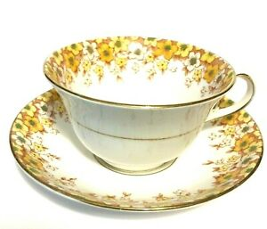 Beautiful-Rosina-Bone-China-Cup-and-Saucer-Yellow-Floral-Made-in-England-Vintage