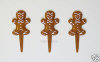 12 Gingerbread Man Cookie Cup Cake Picks Topper Xmas Winter Party Bakery Supply