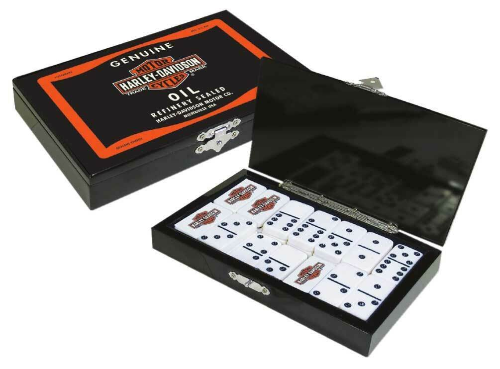 Harley-Davidson Oil Can  Bar & Shield Domino Set, Durable Polyester Resin 66919  prima qualità ai consumatori