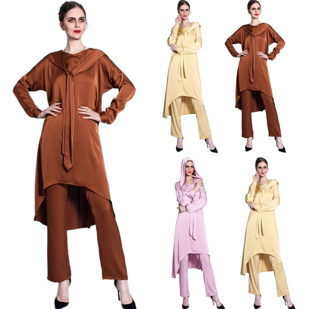 Fashion Islamic Abaya 2PCS Set Hooded Tops+Pants Women Ladies Arab Robe Loose