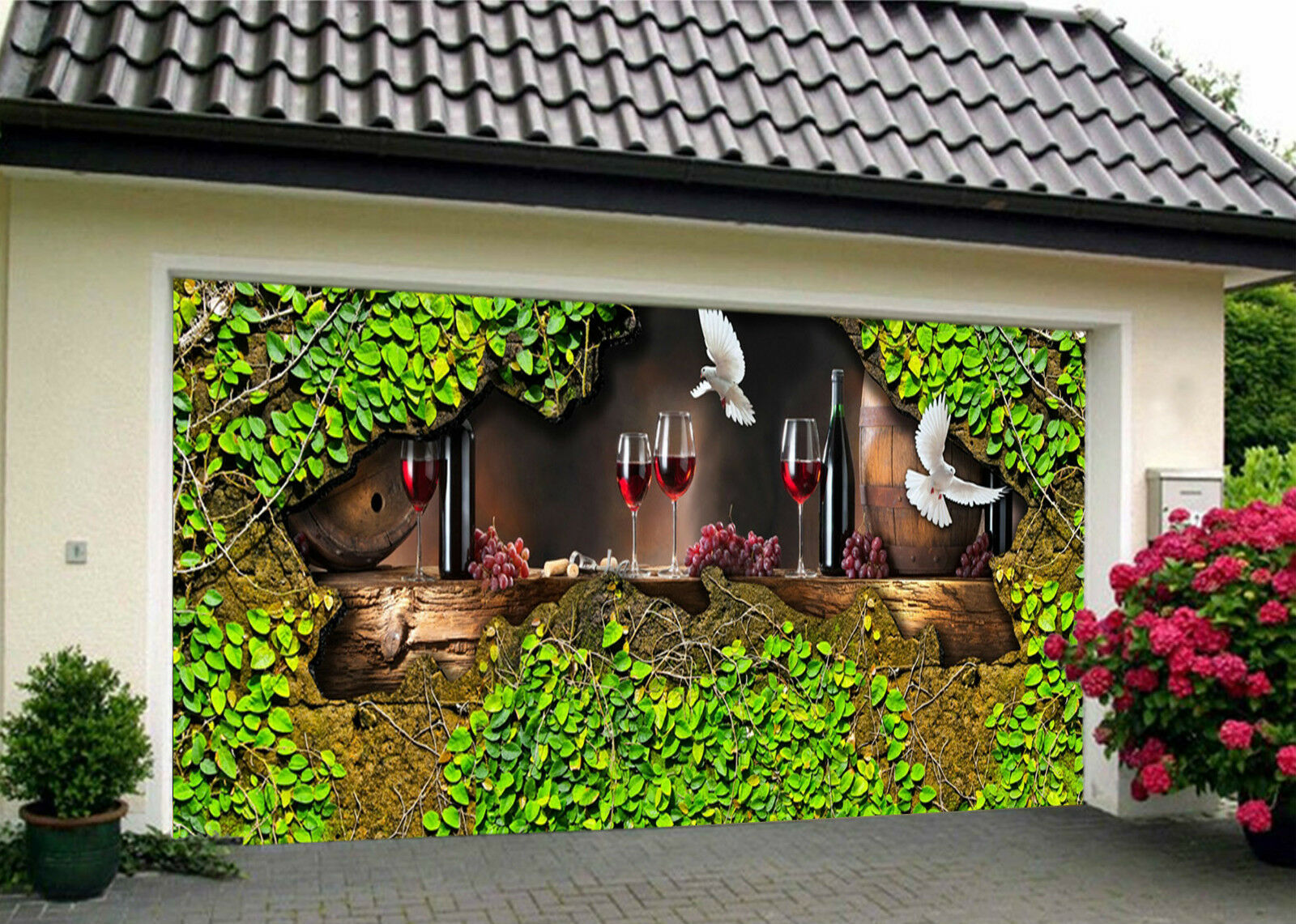 3D Wine And Birds Garage Door Murals Wall Print Decal Wall Deco AJ WALLPAPER IE
