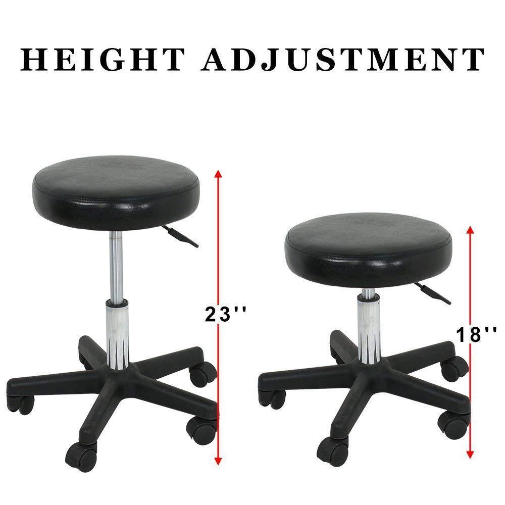 Adjustable Black Tattoo Salon Stool Hydraulic Rolling Chair Facial Massage Spa Health & Beauty
