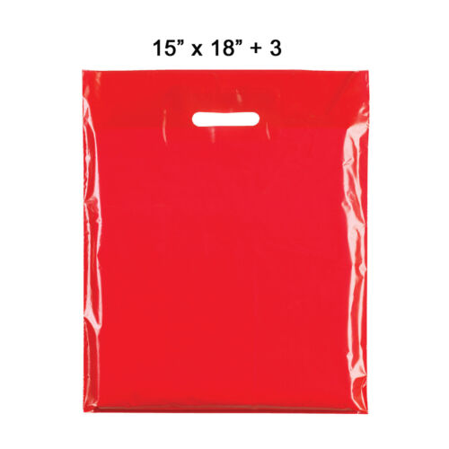 RED HEAVY DUTY COLORED PLASTIC CARRIER BAGS PARTY GIFT BAGS