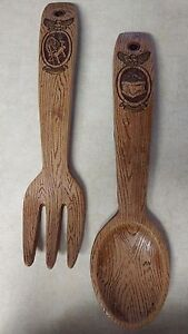 Details About Vintage 16 Carved Wooden Spoon Fork Set Kitchen Wall Decor 1960 Chicago Il