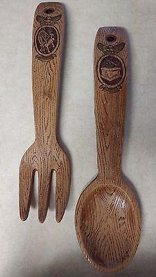 Vintage 16 Carved Wooden Spoon Fork Set Kitchen Wall Decor 1960 Chicago Il Ebay