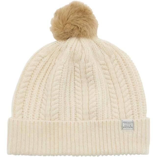 Joules Knitted Pom Bobble Hat Fur Cream One Size Winter Beanie for ... 7c91a5c9964